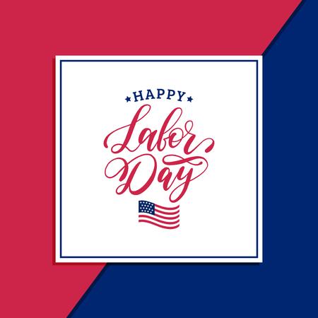 Vector Happy Labor Day verkoop kaart. Poster met hand belettering van nationale Amerikaanse feestdag. Speciale aanbieding banner.