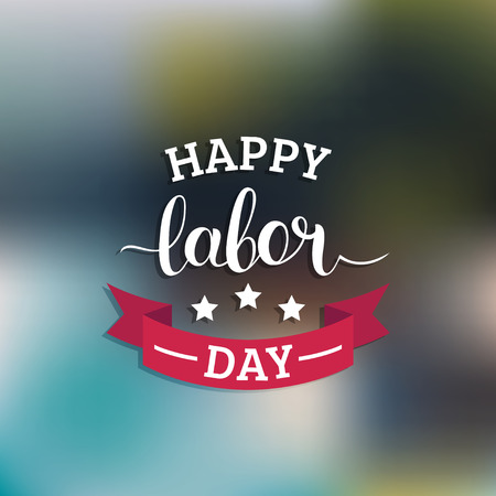 month: Vector Happy Labor Day card. National USA holiday illustration with ribbon and stars. Festive banner with hand lettering