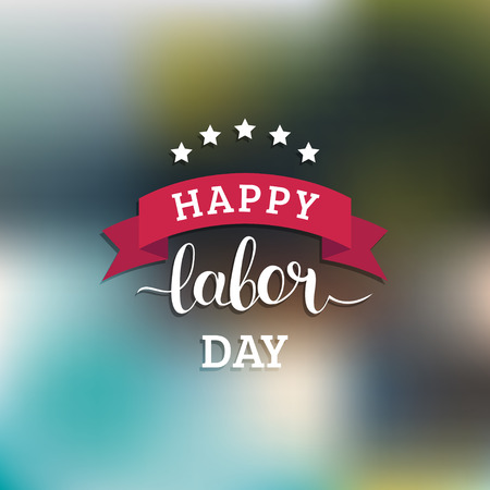 Vector Happy Labor Day card. National USA holiday illustration with ribbon and stars. Festive banner with hand lettering Vector Illustration