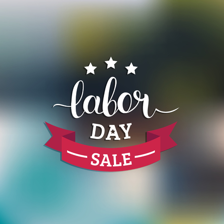 Labor Day Sale hand lettering vector background. Holiday discount card with stars and ribbon illustration. Çizim