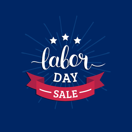 Labor Day Sale hand lettering vector background. Holiday discount card with stars and ribbon illustration. Vector Illustration