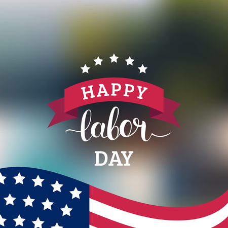 Vector Happy Labor Day card. National american holiday illustration with USA flag. Festive poster with hand lettering. Illustration