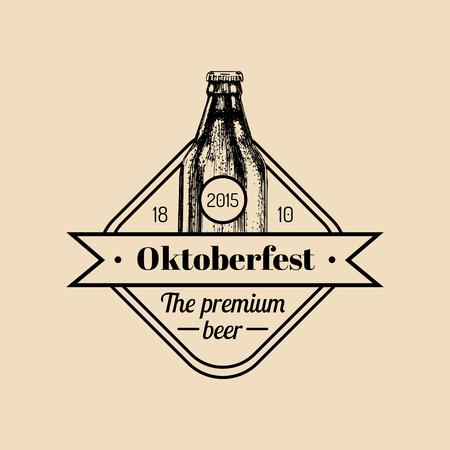 Oktoberfest label. Beer festival sign with hand sketched bottle. Vector vintage brewery badge. Wiesn symbol