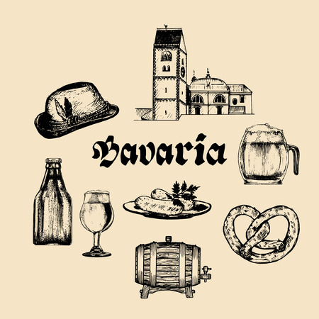 Vector set of famous bavarian symbols.Hand drawn german cuisine and beer icons.Oktoberfest illustrations.Wiesn or signs.