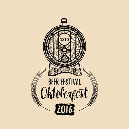 Oktoberfest label. Beer festival sign with hand sketched wooden barrel. Vector vintage brewery badge. Wiesn symbol Illustration
