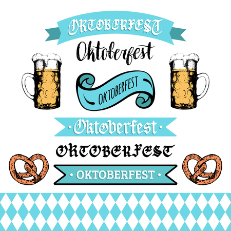 Oktoberfest ribbons and lettering collection for beer festival flyer.Vector hand sketched set of glass mugs and pretzels