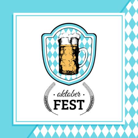 Oktoberfest label. Vector beer festival flyer, poster. Brewery badge with vintage hand sketched glass mug.