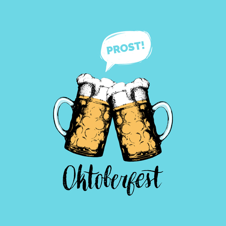 Oktoberfest flyer. Vector beer festival poster. Brewery label or badge with vintage hand sketched glass mugs  イラスト・ベクター素材
