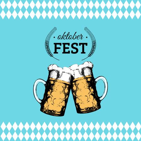 Oktoberfest flyer. Vector beer festival poster. Brewery label or badge with vintage hand sketched glass mugs Illustration