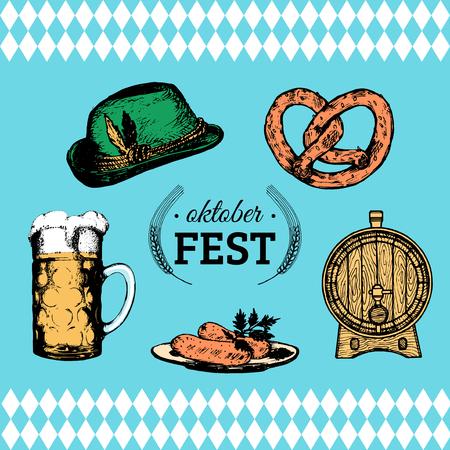 Oktoberfest symbols collection for beer festival flyer and poster. Vector hand sketched set of glass mug, pretzel etc. Illustration