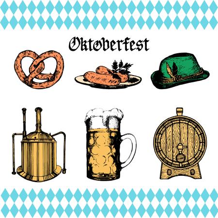 beer stein: Oktoberfest symbols collection for beer festival flyer and poster. Vector hand sketched set of glass mug, pretzel etc. Illustration