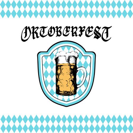 beer stein: Oktoberfest label. Vector beer festival flyer, poster. Brewery badge with vintage hand sketched glass mug.