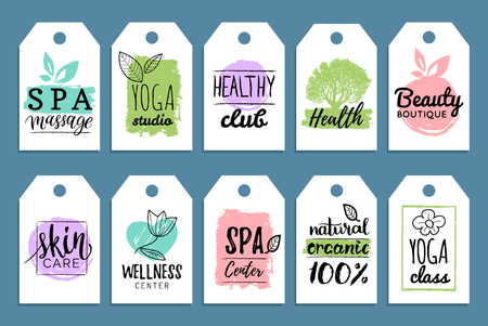 centers: Vector health and beauty care labels. Spa, yoga centers tags. Wellness labels. Hand drawn stickers and elements set.