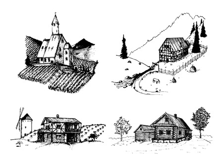 Vector farm landscapes illustrations set. Sketches of vineyard, abbey, homestead in mountains, fields and hills.