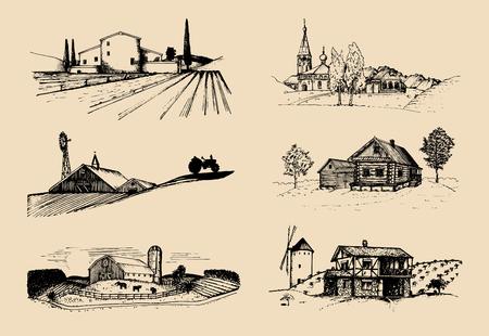 Set di illustrazioni vettoriali paesaggi di fattoria. Schizzi di villa, fattoria in campi e colline. Campagna russa Vettoriali