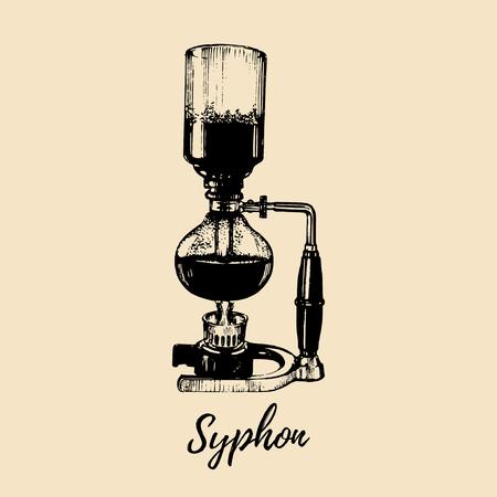 Vector sifon illustratie. Hand geschetste maker voor het alternatieve koffie brouwen. Cafe, restaurant menu ontwerpconcept