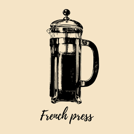 Vector French Press illustration. Hand sketched glass pot for alternative coffee brewing. Cafe, restaurant menu design.