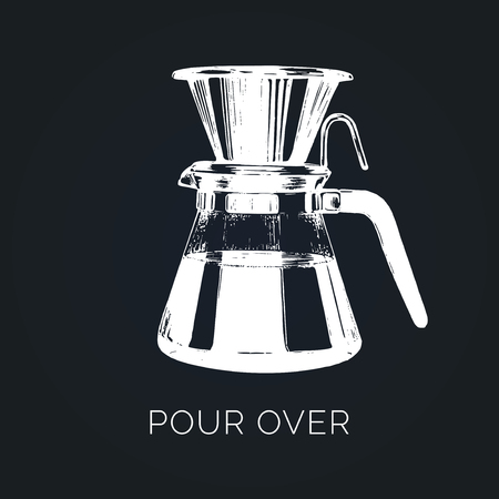 Vector Pour Over coffeemaker illustration. Hand sketched dripper and pot for alternative brewing method.