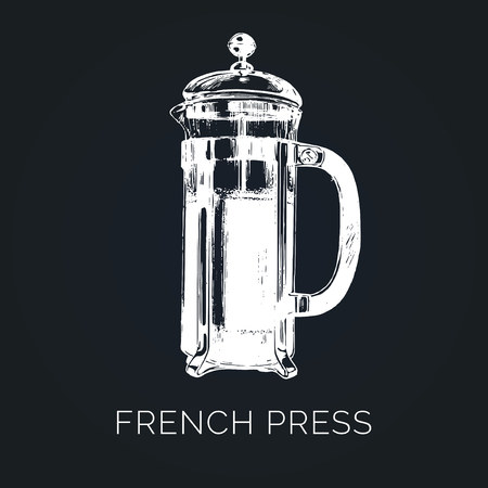 Vector French Press illustration. Hand sketched glass pot for alternative coffee brewing. Cafe, restaurant menu design.