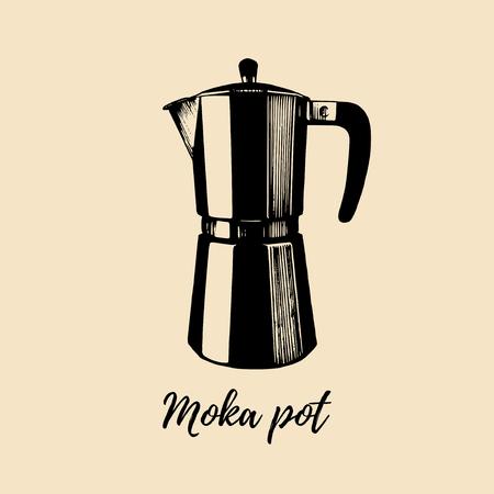 Vector Moka Pot illustration. Hand sketched maker for alternative coffee brewing. Cafe, restaurant menu design concept