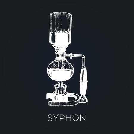 Vector Syphon illustration. Hand sketched maker for alternative coffee brewing. Cafe, restaurant menu design concept