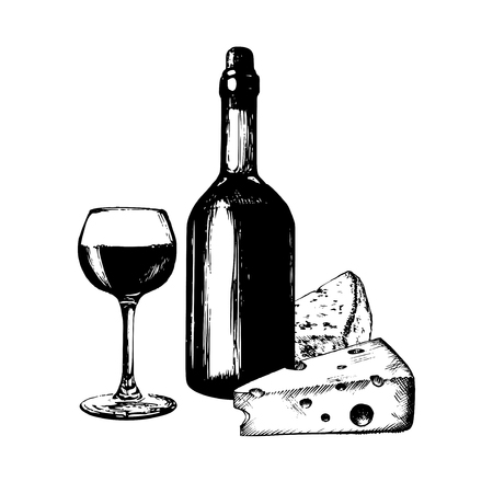 Vector illustration of wine bottle, glass and cheese. Hand sketched food and drink set. Menu design for cafe, bar etc.