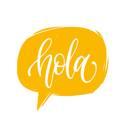 Vector Hola calligraphy, spanish translation of Hello phrase. Hand lettering in speech bubble