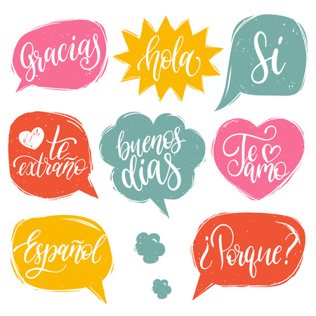 Vector calligraphic set of spanish translation of Thank You, Good Day etc. Common words hand lettering in speech bubbles