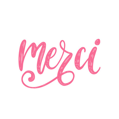 Vector Merci calligraphy, french translation of Thank You phrase. Hand lettering of thankfulness word