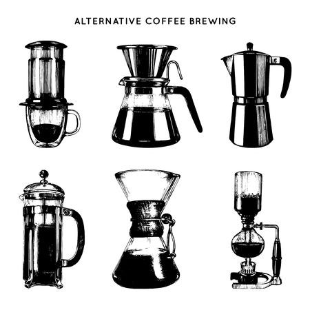 Vector alternatieve koffiebrouwen illustraties instellen. Hand schetste verschillende koffiezetapparaten. Cafe, restaurant menu ontwerp.