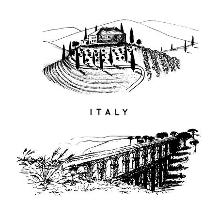 Italienische Landschaften mit römischem Aquädukt und Toskana-Villa. Vector Hand skizzierte Illustration von Italien Sehenswürdigkeiten. Standard-Bild - 85396989