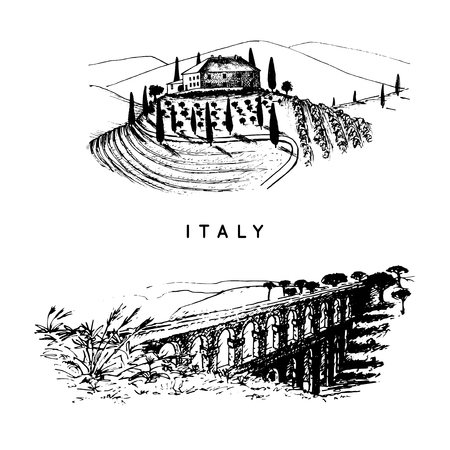 Italian landscapes set with roman aqueduct and Tuscany villa. Vector hand sketched illustration of Italy sights.