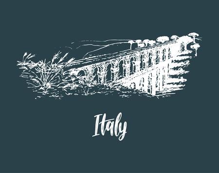 Paysage italien avec aqueduc romain. Main de vecteur a esquissé l'illustration des sites d'Italie. Symbole touristique européen