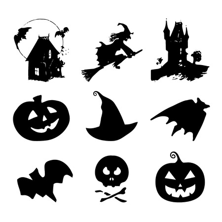 all saints day: Halloween icons, signs. Vector illustrations of October 31 night. All Saints Day elements collection Illustration