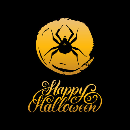 Spider vector illustration with Happy Halloween lettering. All Saints Eve background. Festive card design
