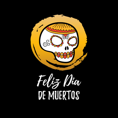 all saints day: Scull vector illustration with Feliz Dia De Muertos, translated Happy Halloween lettering. Party invitation card.