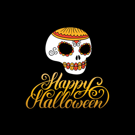 all saints day: Scull vector illustration with Happy Halloween lettering for party invitation card, poster. All Saints Eve background Illustration