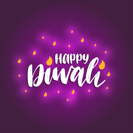 Diwali festival poster with hand lettering