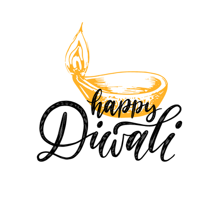 Diwali festival poster with hand lettering. Vector lamp illustration for Indian holiday greeting or invitation card. Illustration