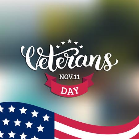 Happy Veterans Day lettering with USA flag vector illustration. November 11 holiday background. Celebration poster. Reklamní fotografie - 87127362