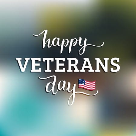 memory card: Happy Veterans Day lettering with USA flag vector illustration. November 11 holiday background. Celebration poster.