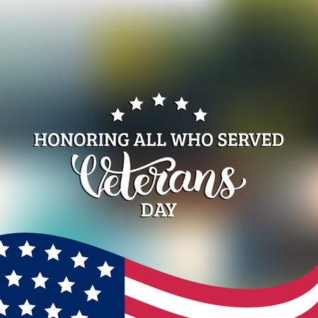 Happy Veterans Day belettering met de VS vlag vector illustratie. 11 november vakantie achtergrond. Vieringsposter.