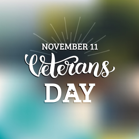 Vector illustration with Happy Veterans Day lettering. November 11 holiday background. Celebration poster. Greeting card