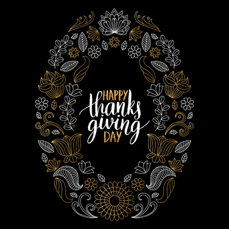 floral: Vector illustration with Happy Thanksgiving Day lettering in floral frame. Invitation or festive greeting card template. Illustration