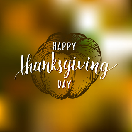 Pumpkin vector illustration with Happy Thanksgiving Day lettering. Invitation or festive greeting card template. Illustration