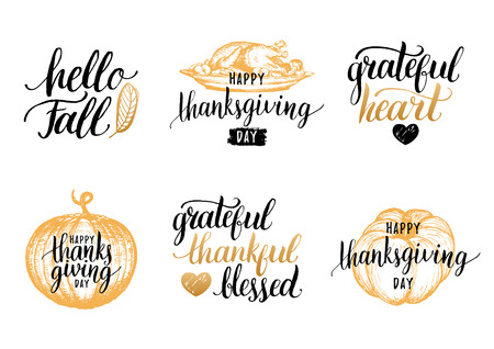 Vector Thanksgiving lettering with sketches for invitations,greeting cards.Calligraphy set Grateful Thankful Blessed etc Illustration