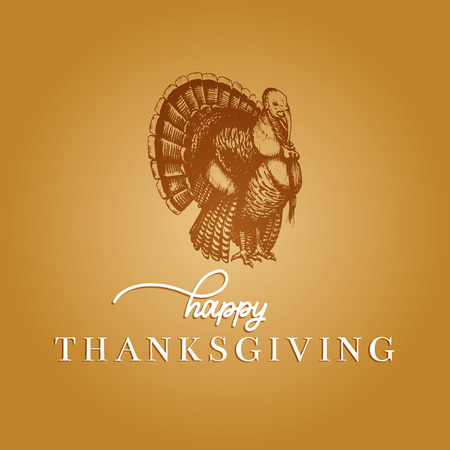 Thanksgiving Day lettering with festive turkey illustration. Vector invitation or holiday greeting card template.