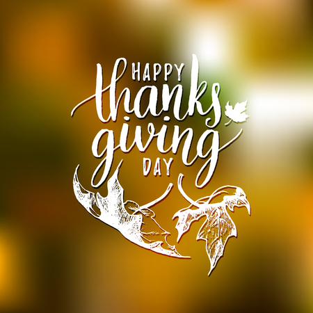 Maple leaves vector illustration with Happy Thanksgiving Day lettering for invitation or festive greeting card. Illustration