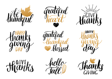 Vector Thanksgiving lettering for invitations or festive greeting cards. Handwritten calligraphy set Hello Fall etc.