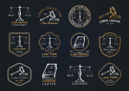 De pictogrammen van het wetsbureau met schalen van rechtvaardigheid, hamer enz. Illustraties die worden geplaatst. Vector uitstekende procureur, verdedigingsetiketten. Stock Illustratie